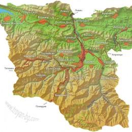 Карта на Района около Троян